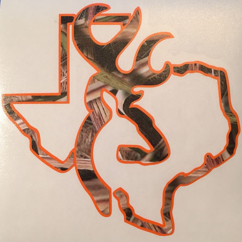 Camo Orange Texas Deer Hunting Browning Decal Truck Window - Camo custom vinyl decals for trucks