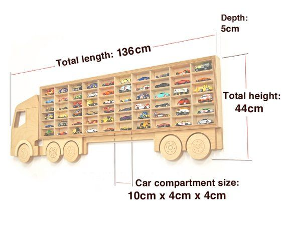 Hot Wheels Toy Car Storage, Display 60 Cars, Christmas or Birthday Gift Idea for boys Toy box storage Shelving in premium birch contrelywood Xmas