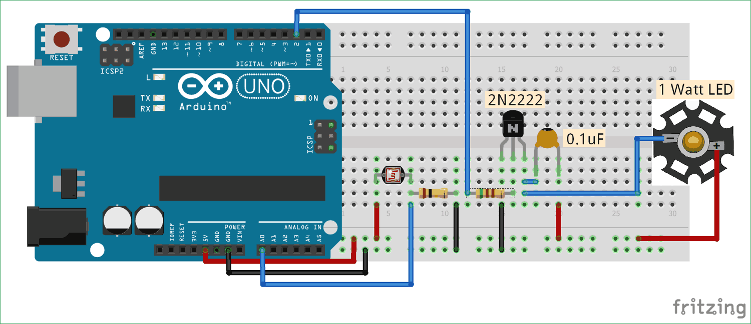 Auto Intensity Control Of Power Led Using Arduino Arduino Power Led Arduino Projects