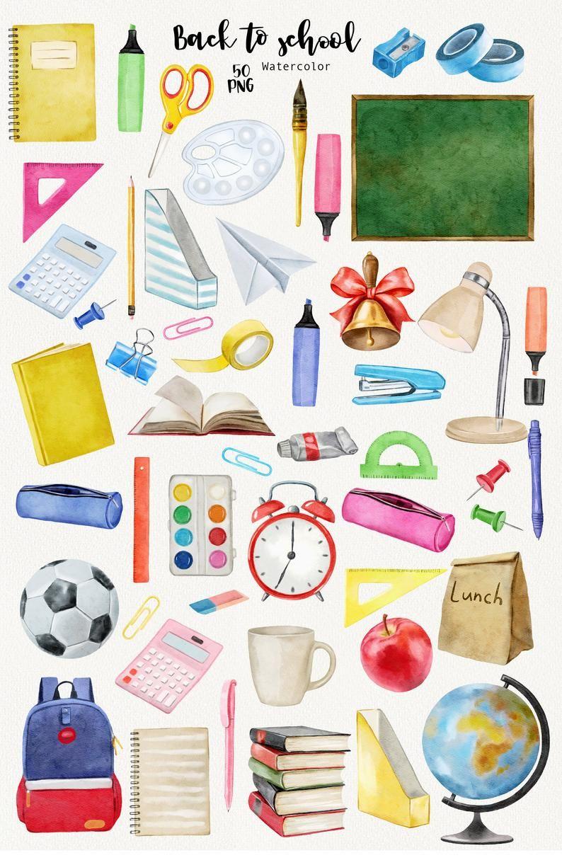 Watercolor Back To School Clipart School Supplies Clipart Etsy Back To School Clipart School Clipart Clip Art