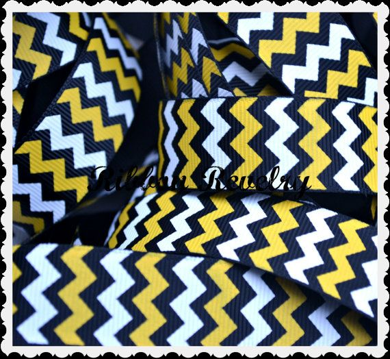 Navy blue yellow & white chevron 7/8  grosgrain by ribbonrevelry, $1.65