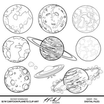 Black and White Cartoon Planets Digital Clip Art in 2019