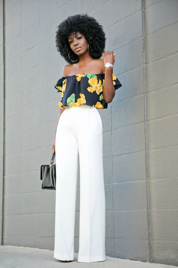 Floral Off Shoulder Blouse   White High Waist Pants (Style Pantry ...