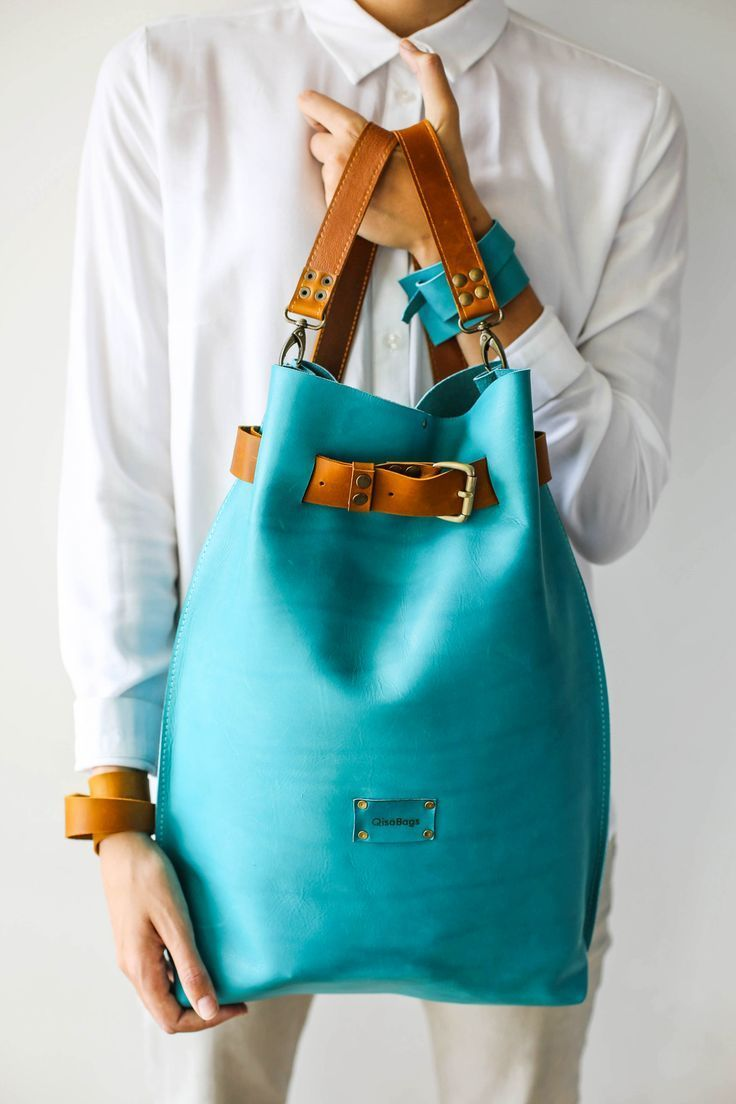 Photo of Large Leather Backpack, Leather Laptop Backpack, Blue Backpack, Large Travel Bag