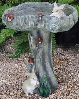 Bunny Bird Bath.  Kelkay Bird Baths and Statues are constructed from durable resin-stone. #bunnies #bunny #birdbath #birdbaths
