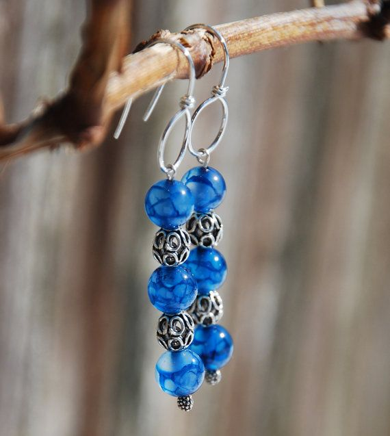 Handmade Blue Dragon Vein Agate Earrings With Sterling