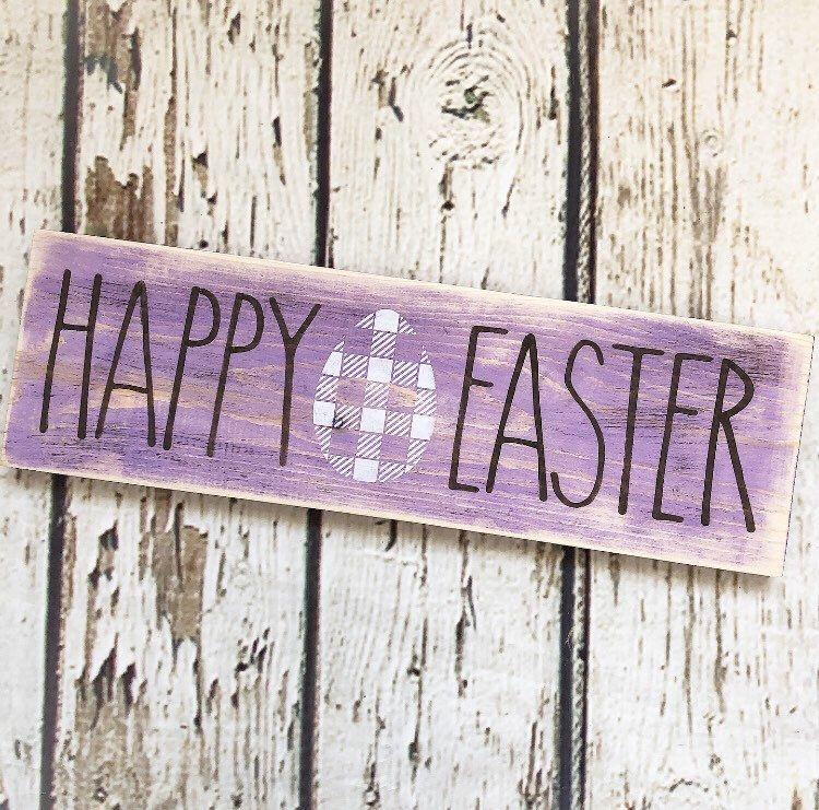 "Shelf Sitter Block Light Blue Happy Easter 12/"" Engraved Wood Sign"