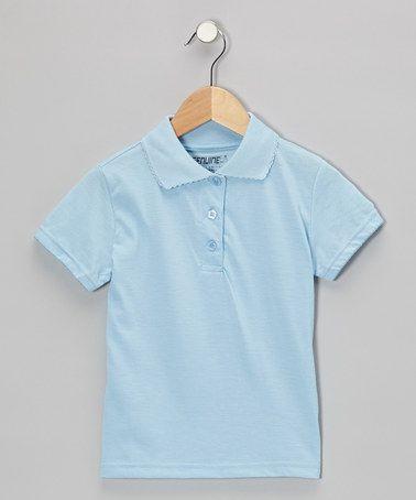 Loving this Light Blue Scallop Collar Short-Sleeve Polo - Girls on #zulily! #zulilyfinds $6.99, regular 16.00