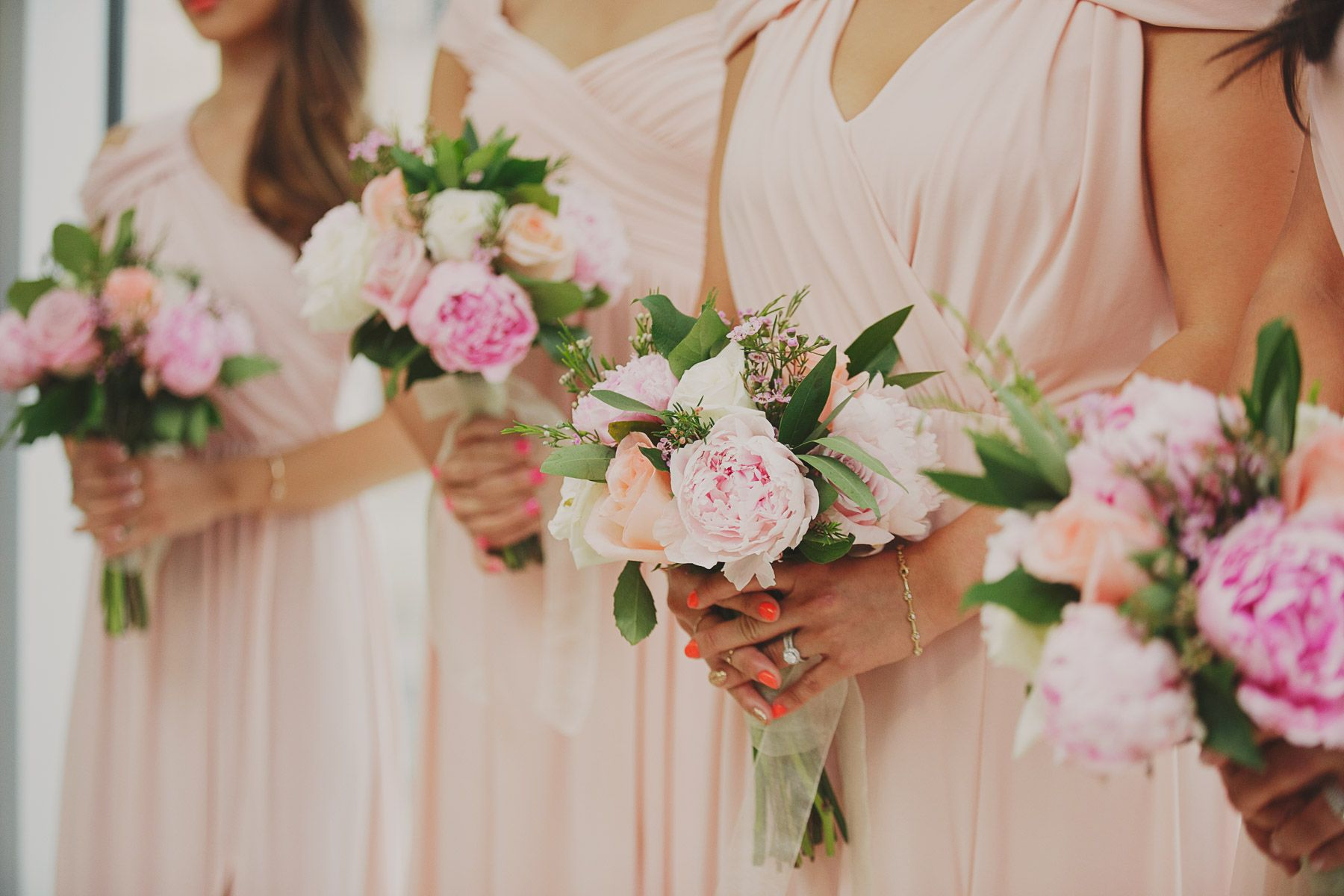 Pretty blush bridesmaids bouquets #peonies