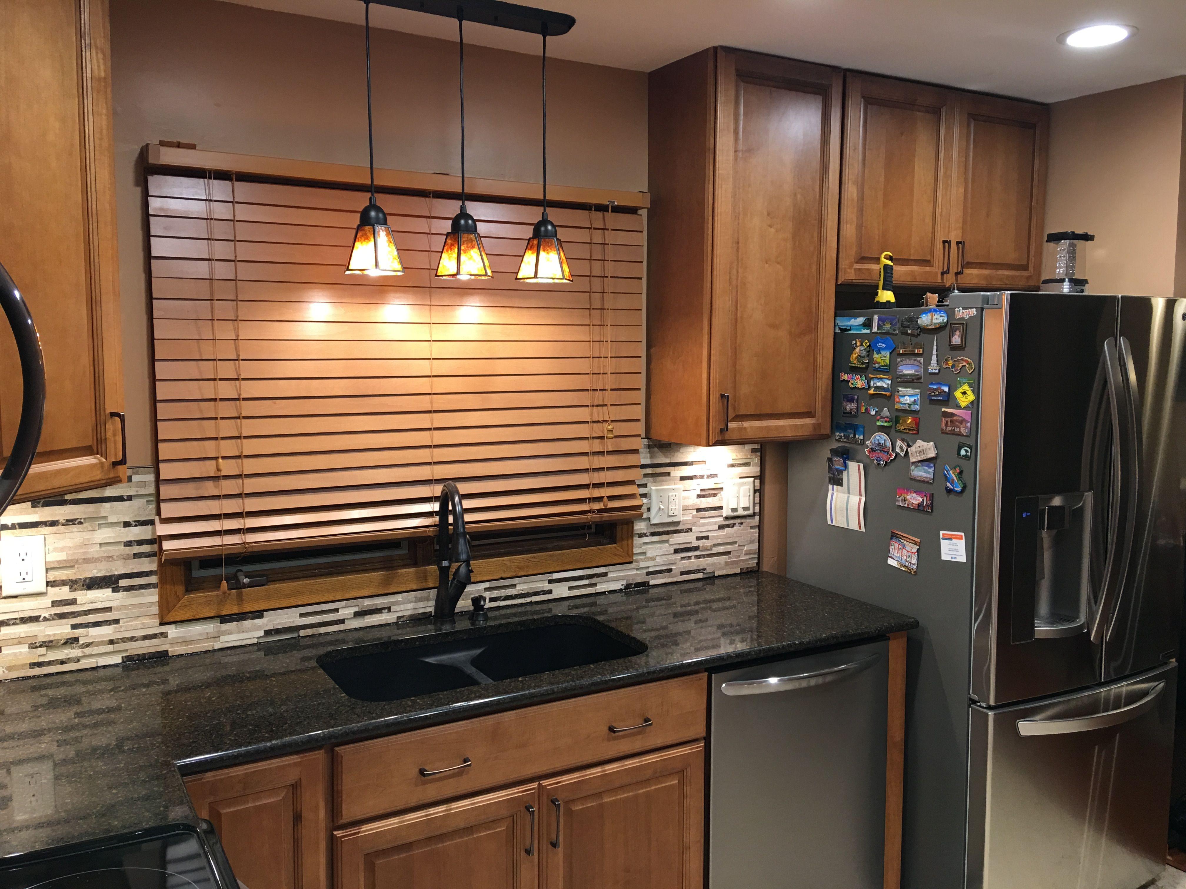 Pendant Lights And Fridge Magnets Kitchen Renovation Brown Cabinets Under Cabinet Lights