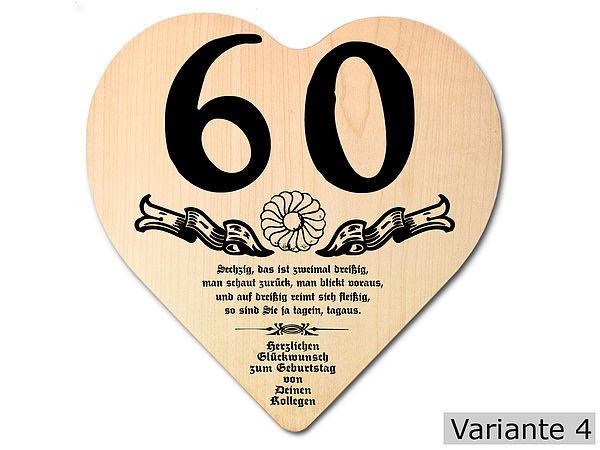 Geschenk zum 60 geburtstag herz holzschild mit wunschtext for Geschenk zum 60 mutter