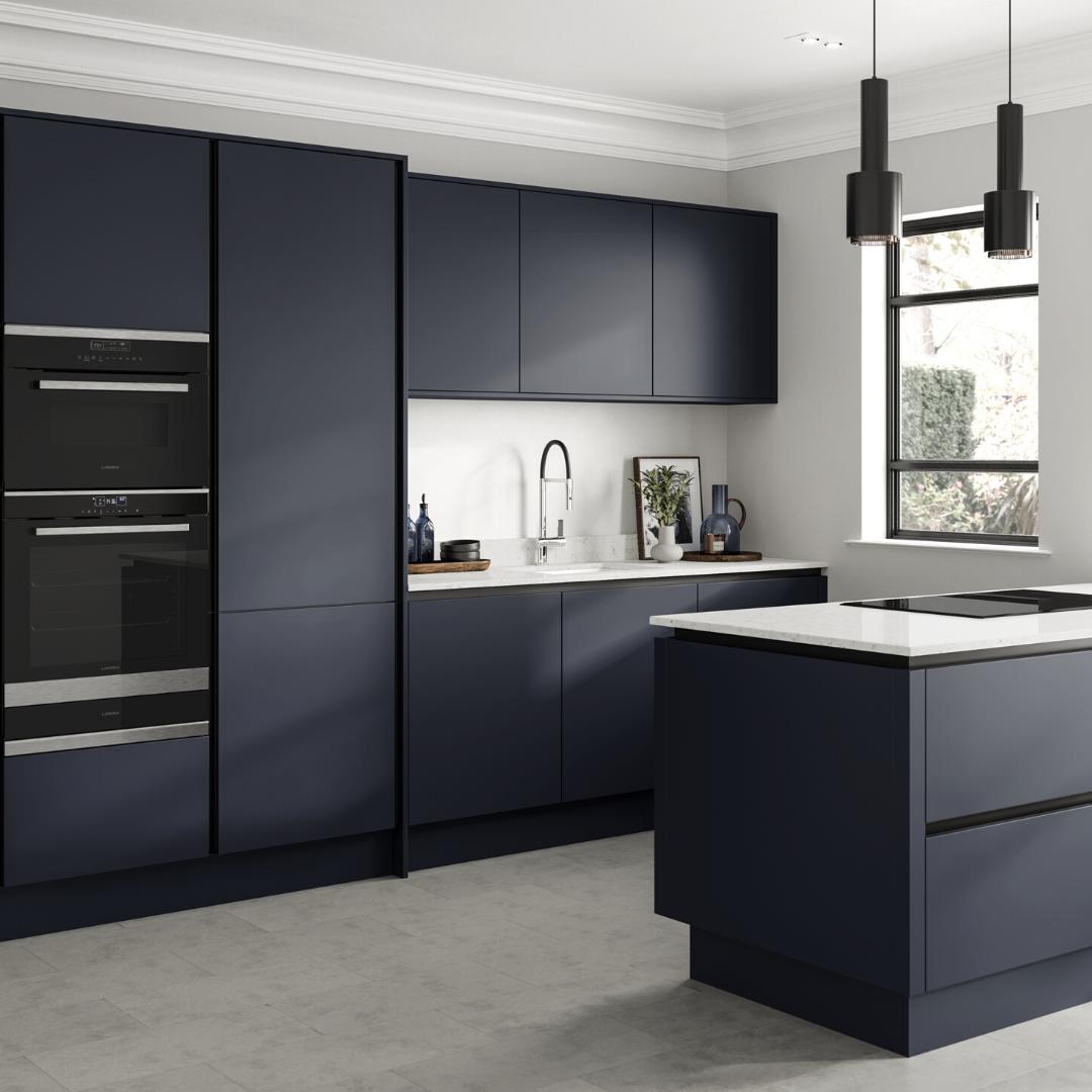Hockley Super Matt Navy Handleless Kitchen In 2020 Handleless Kitchen Dark Blue Kitchen Cabinets Blue Kitchen Inspiration