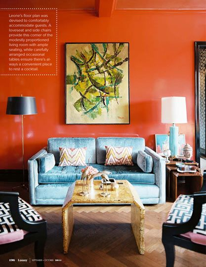 Rooms Painted Orange a mid-century modernists's dream apartment — lonny | orange walls