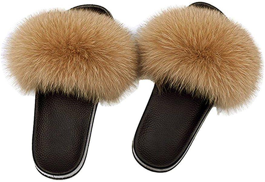 c7ad628b2a301 Amazon.com | Yu He Women Real Fox Fur Feather Vegan Leather Open Toe ...