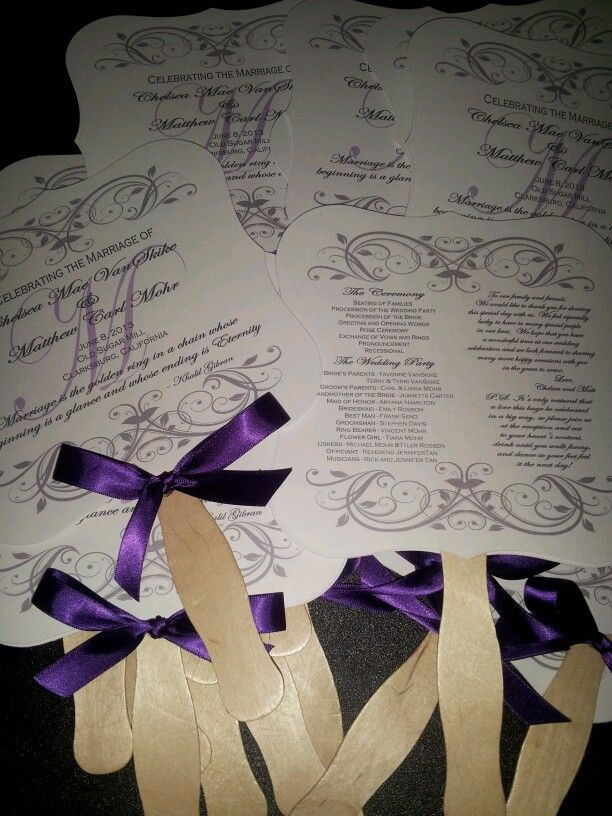 double sided wedding program fan wedding fans pinterest