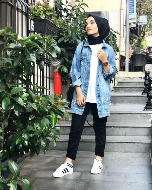How to wear the oversized jean jackets with hijab \u2013 Just Trendy Girls