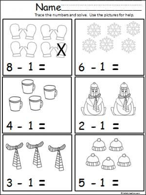 winter math subtract one  teacher ideas  pinterest  math  free winter math subtraction page for kindergarten and st grade students  practice subtracting one using the pictures for help