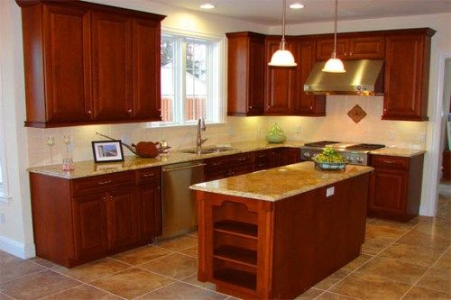 L Shaped Kitchen Layouts Rectangular Kitchen Island In L Shaped