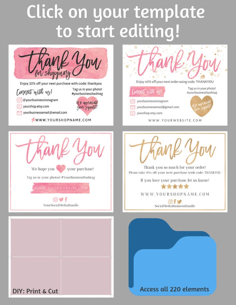 Four 4 Diy Printable Small Business Thank You Card Thank You For Shopping Note Care Card Insert Instagram Poshmark Etsy Business Thank You Notes Small Business Cards Printable Thank You Cards