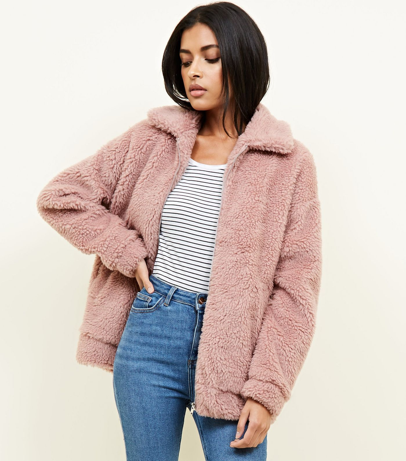 Cream Faux Teddy Fur Bomber Jacket in 2019 | New look