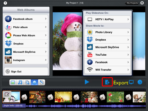 Create slideshows on iPad and upload to Facebook / YouTube / Dropbox / SkyDrive for sharing.