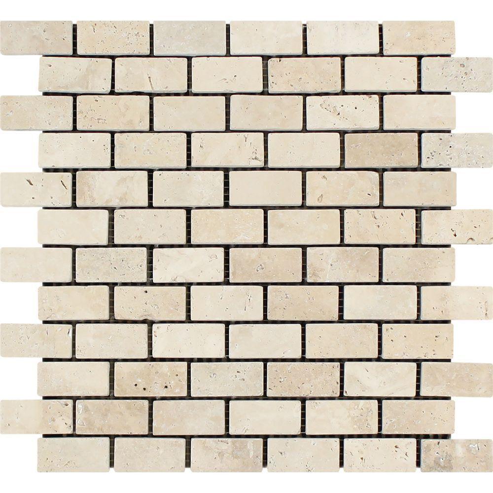 1 X 2 Tumbled Ivory Travertine Brick Mosaic Tile Sample Travertine Mosaic Tiles Stone Mosaic Tile Mosaic Tiles