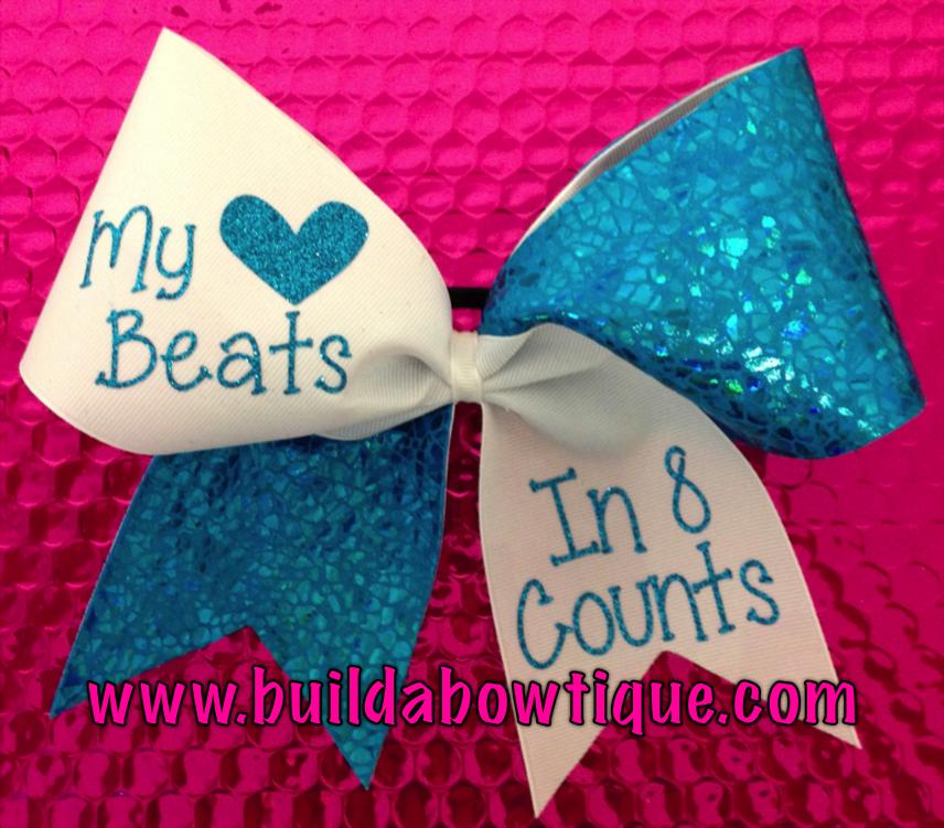 My Heart Beats in 8 Counts- Aqua: Rhinestone Cheer Bows, Sequin, Glitter, Monogram & Custom Cheer Bows