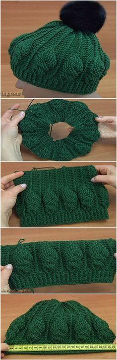 Crochet Cable Stitch Pom Pom Hat | Mütze, Hut häkeln und Stricken