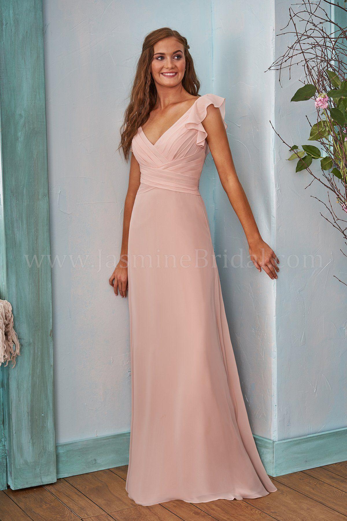 B203002 Long V-neck Poly Chiffon Bridesmaid Dress with Ruching | Box ...