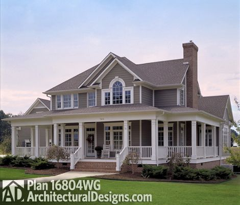 Plan 16804WG Country Farmhouse with Wraparound Porch Country