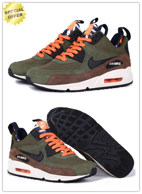 8450070061 616113-302 Nike Air Max 90 SneakerBoot Army Green/Brown/Orange ...