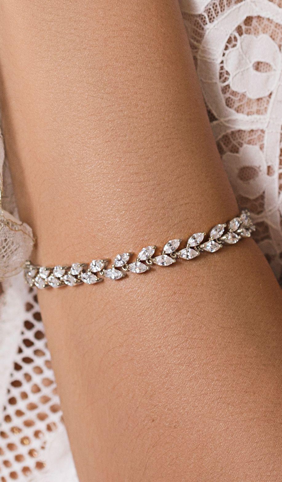 117eacb463 Silver crystal leaf bracelet made with cubic zirconia and 18K white gold |  tennis bracelet,