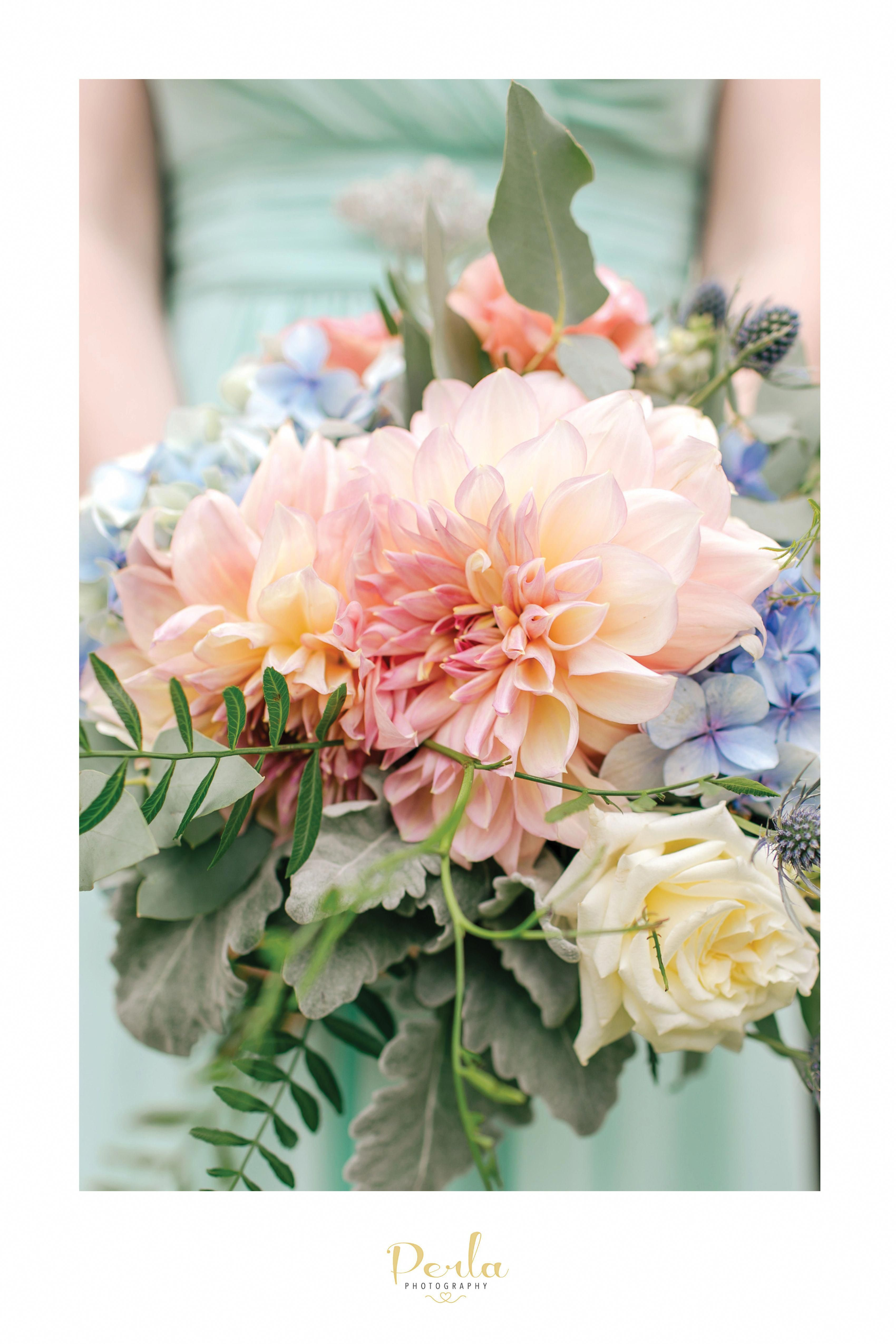 Bridal Bouquet With Pastel Coloured Flowers Pink Dahlias And Soft Blue Hydrangeas Bridal Bouquet Flowers Flower Bouquet Wedding Blue Wedding Bouquet
