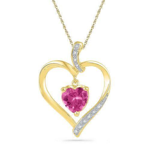 10k Yellow Gold 0.05 ctw Diamond 1.80 ctw Created Pink Sapphire Pendant