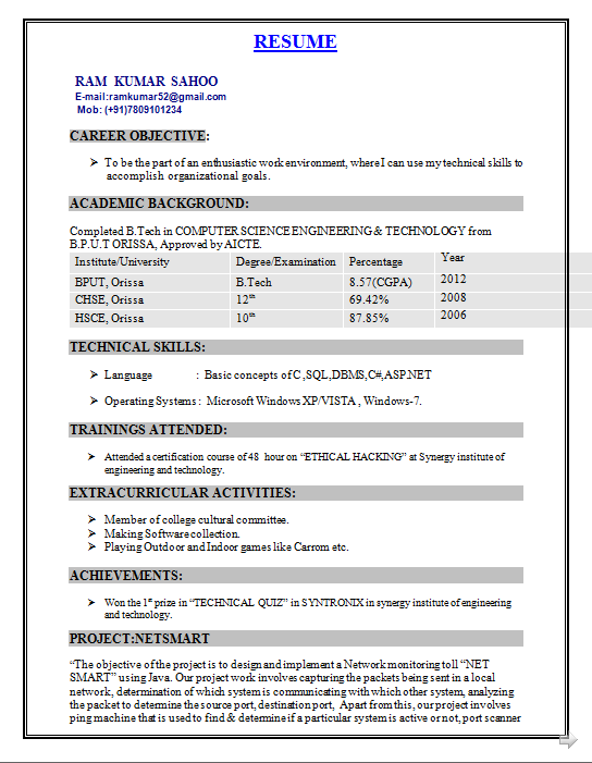 B Tech Resume Examples Resume Format For Freshers Best Resume