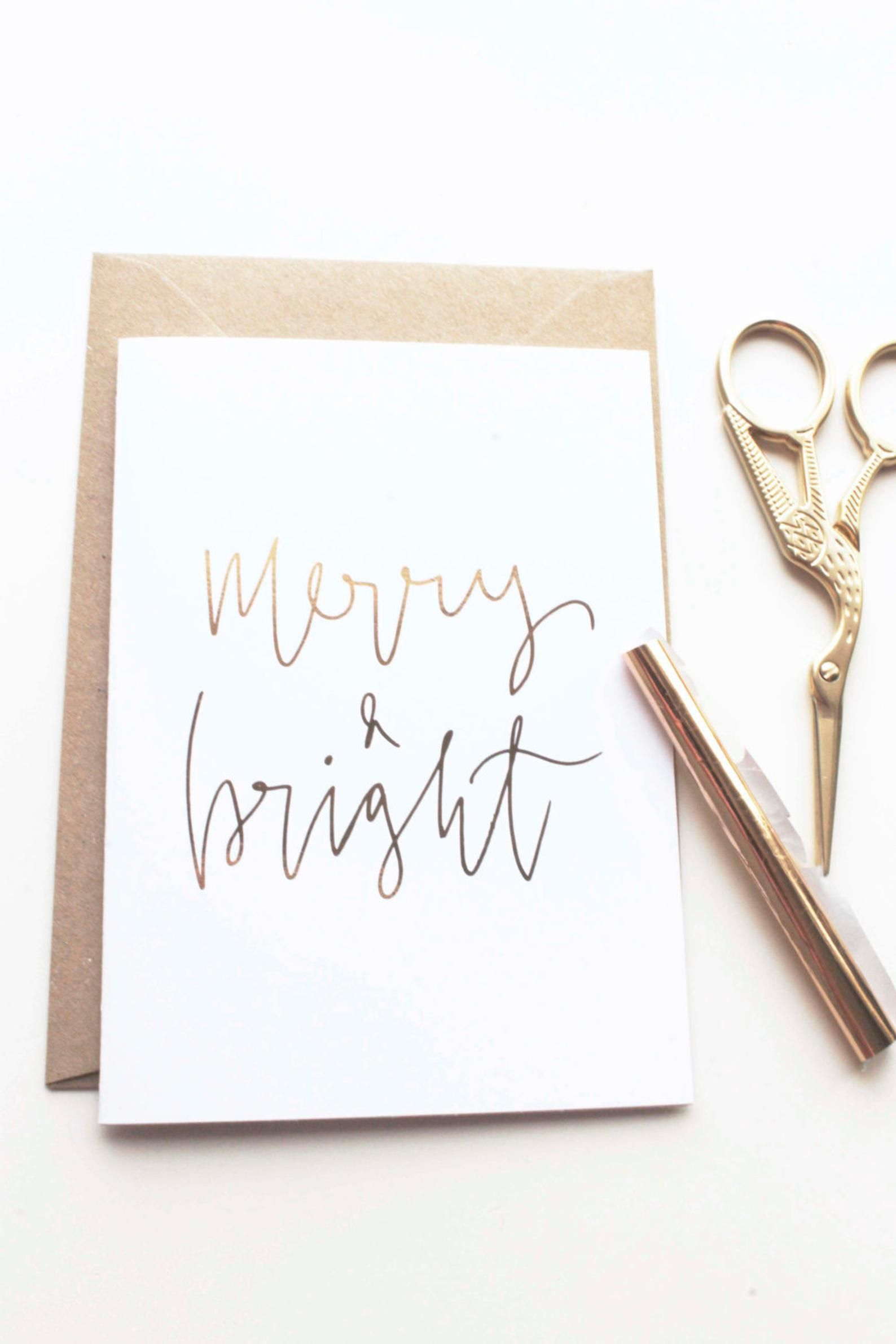 Merry & Bright Hand Lettered Real Rose Gold Foil Xmas Card