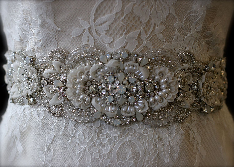 Beaded sash wedding bridal dress crystals by cicadabridal