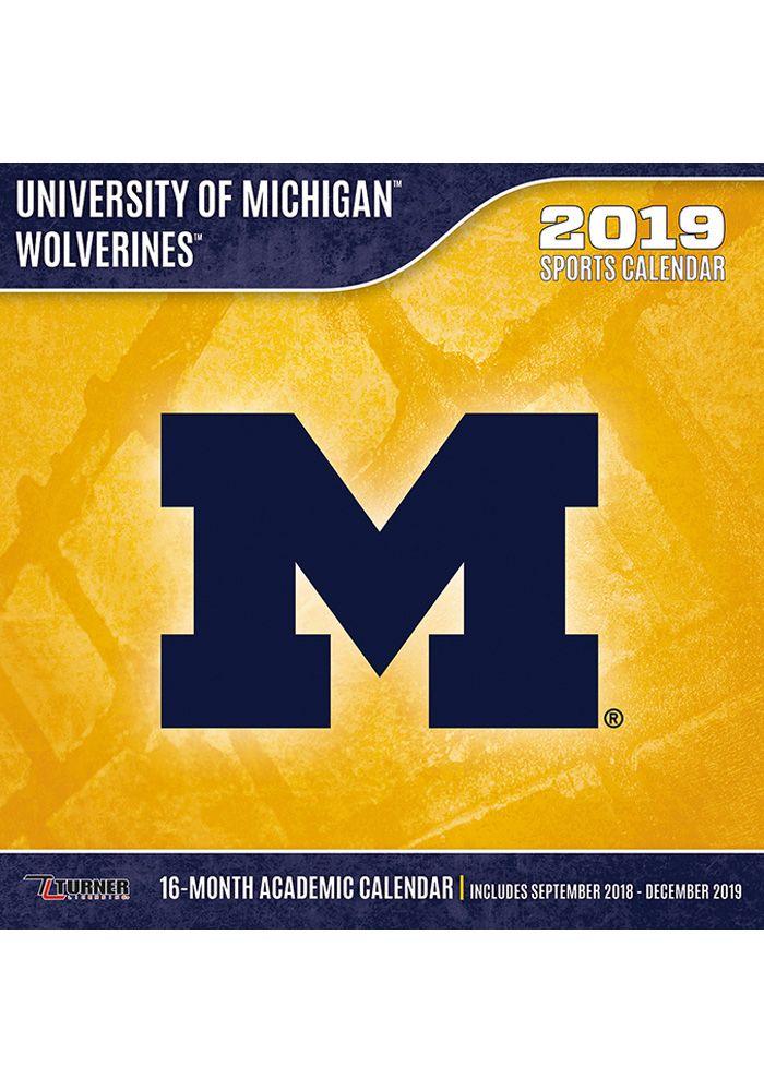 Michigan Wolverines 2019 Wall Calendar Navy Blue Paper