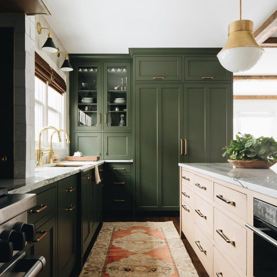 My 10 Favorite Design Related Instagram Accounts Kitchen Design Green Kitchen Cabinets Dark Green Kitchen