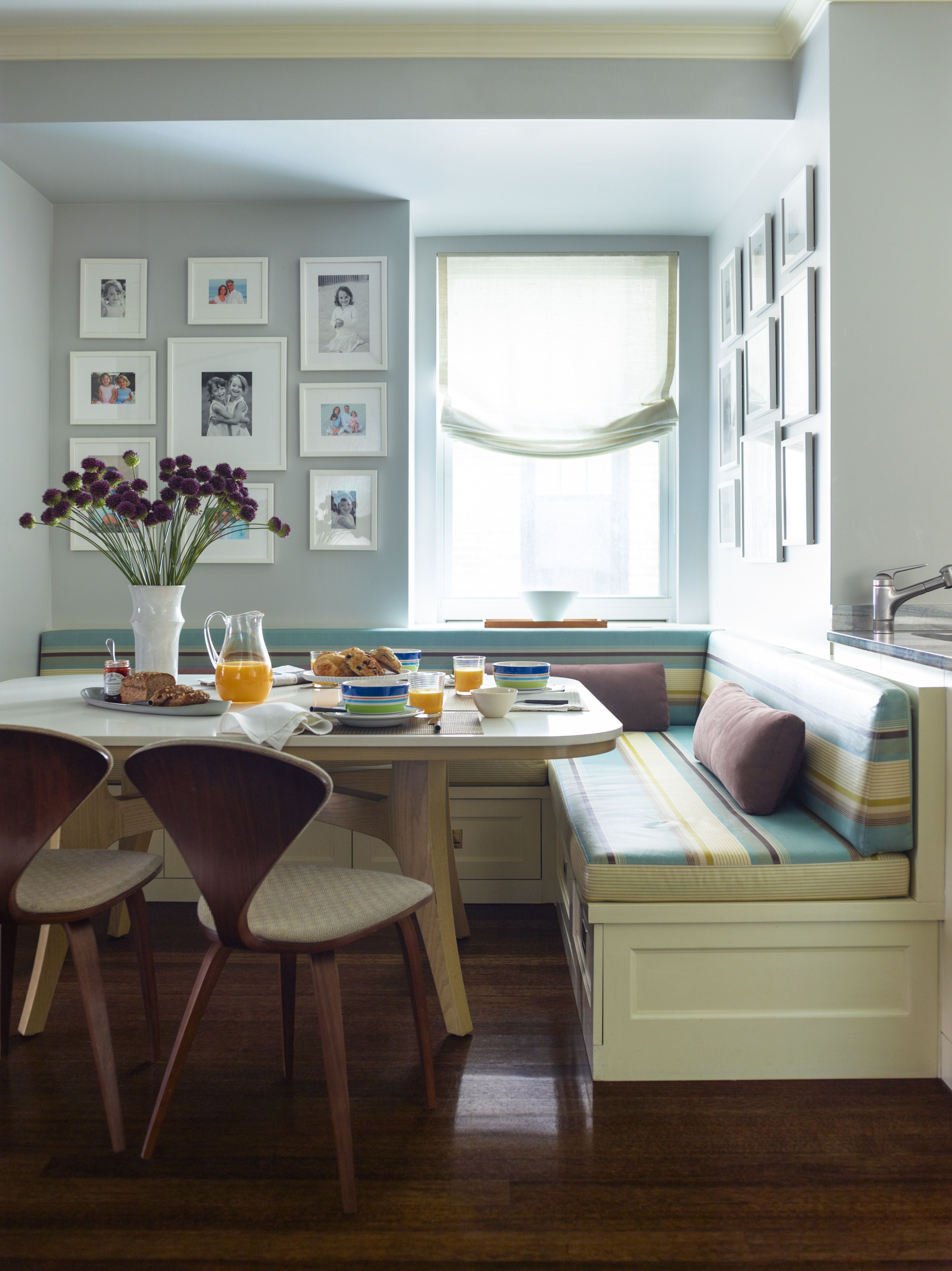 Upper East Side Breakfast Nook With Striped Built In Banquette And Gallery Walls In 2020 Dining Room Bench Seating Dining Room Remodel Living Room Bench