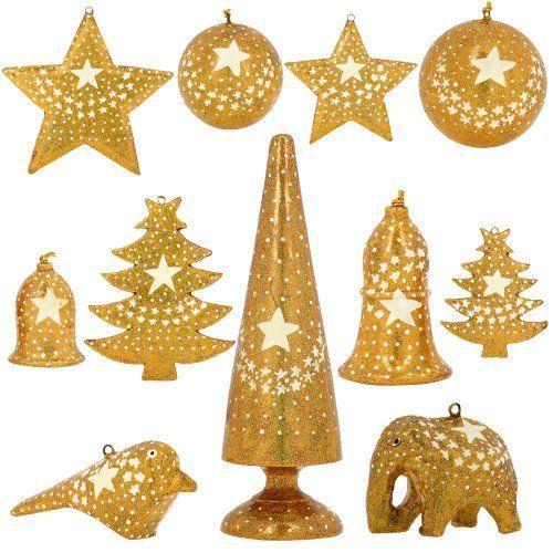 Set Of 11 Gold Star Paper Mache Valentine Ornaments Handmade Indian Gifts Sha Handmade Christmas Ornaments Handmade Ornaments Christmas Decorations Ornaments