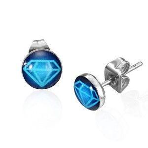 Blue Diamond Design Resin Stainless Steel Mens Stud Earrings 7mm Mensfashion Mensjewellery
