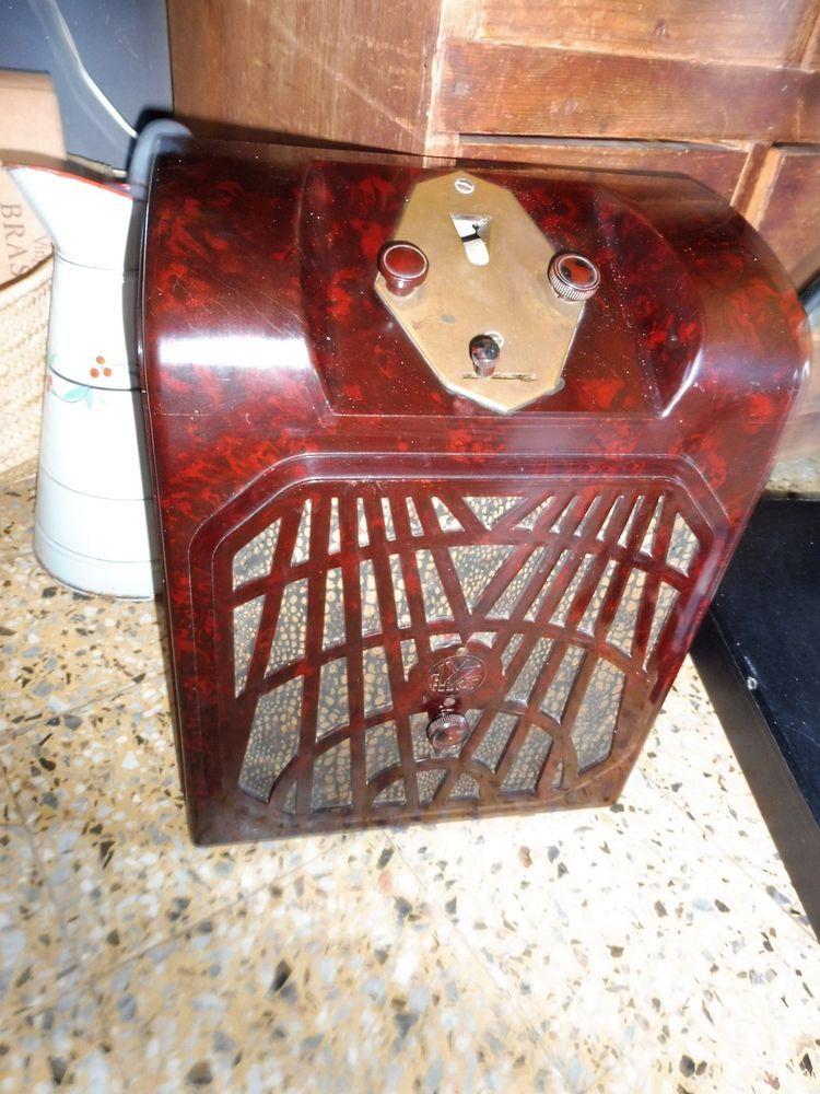 ANTIQUE RED MARBLE BAKELITE TUBE RADIO EMYPHONE 30 S TUNGSRAM ART DÉCO | eBay