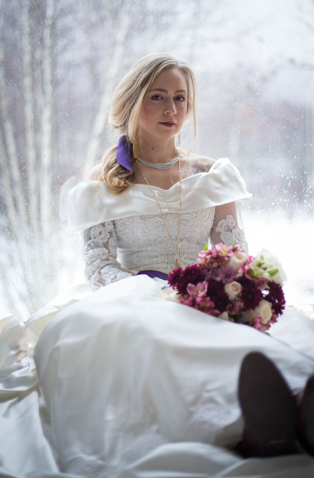 Leather wedding dress  Styled bridal shoot on a cold New England day including a vintage