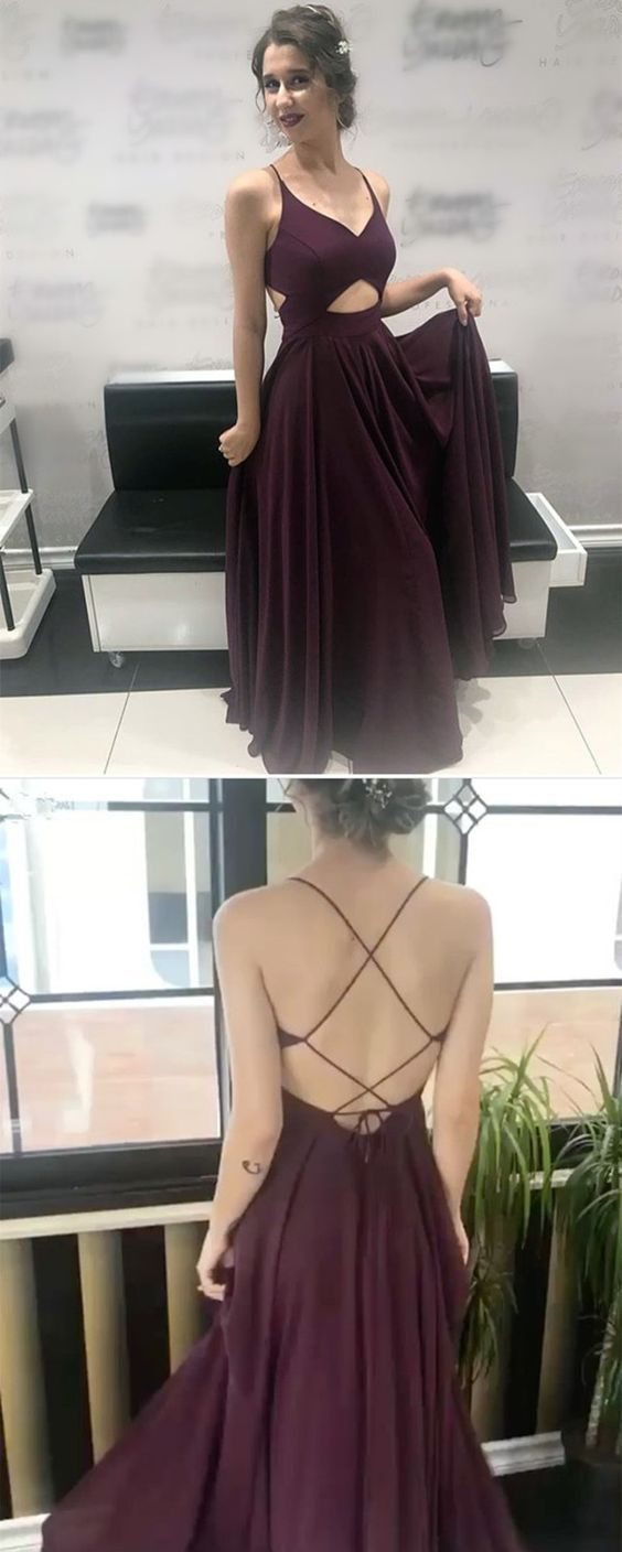 c1d563a1d5a Chic V Neck Cross Back Long Chiffon Prom Dresses 2018 Formal Evening Gowns
