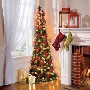 6 lighted pre lit decorated corner pull up artificial christmas tree red gold