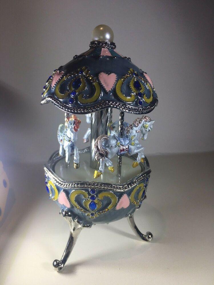 Easter Egg Pewter Music Box Carousel Music box, Trinket