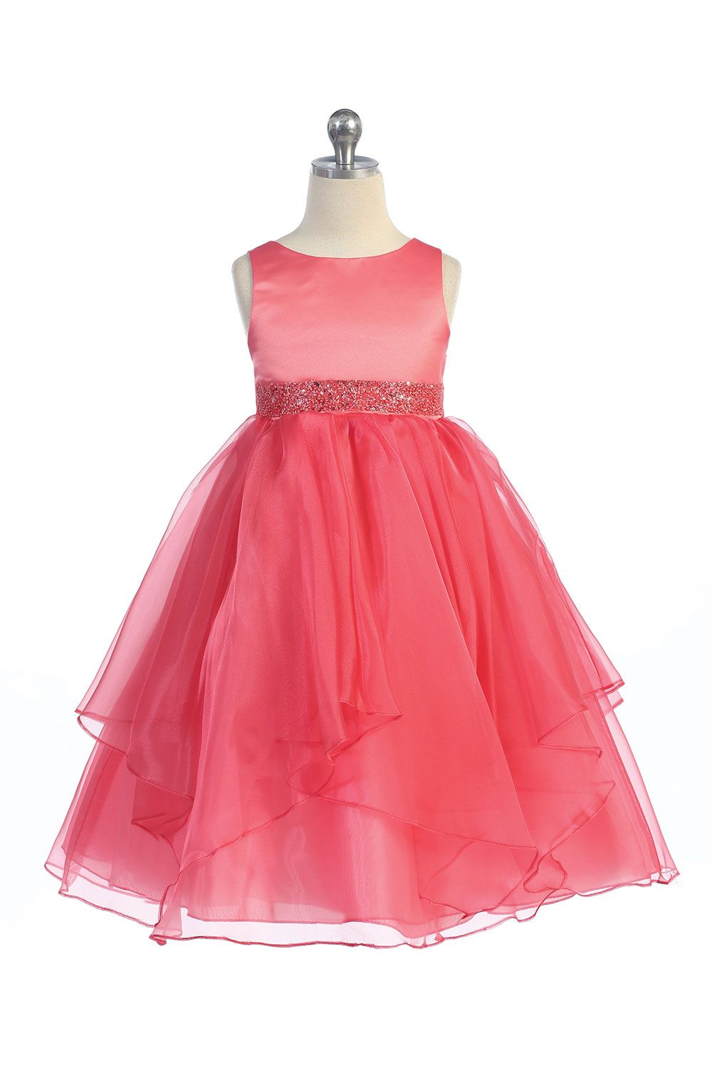 Coral Satin and Organza Layered Flower Girl Dress - for Bella ...