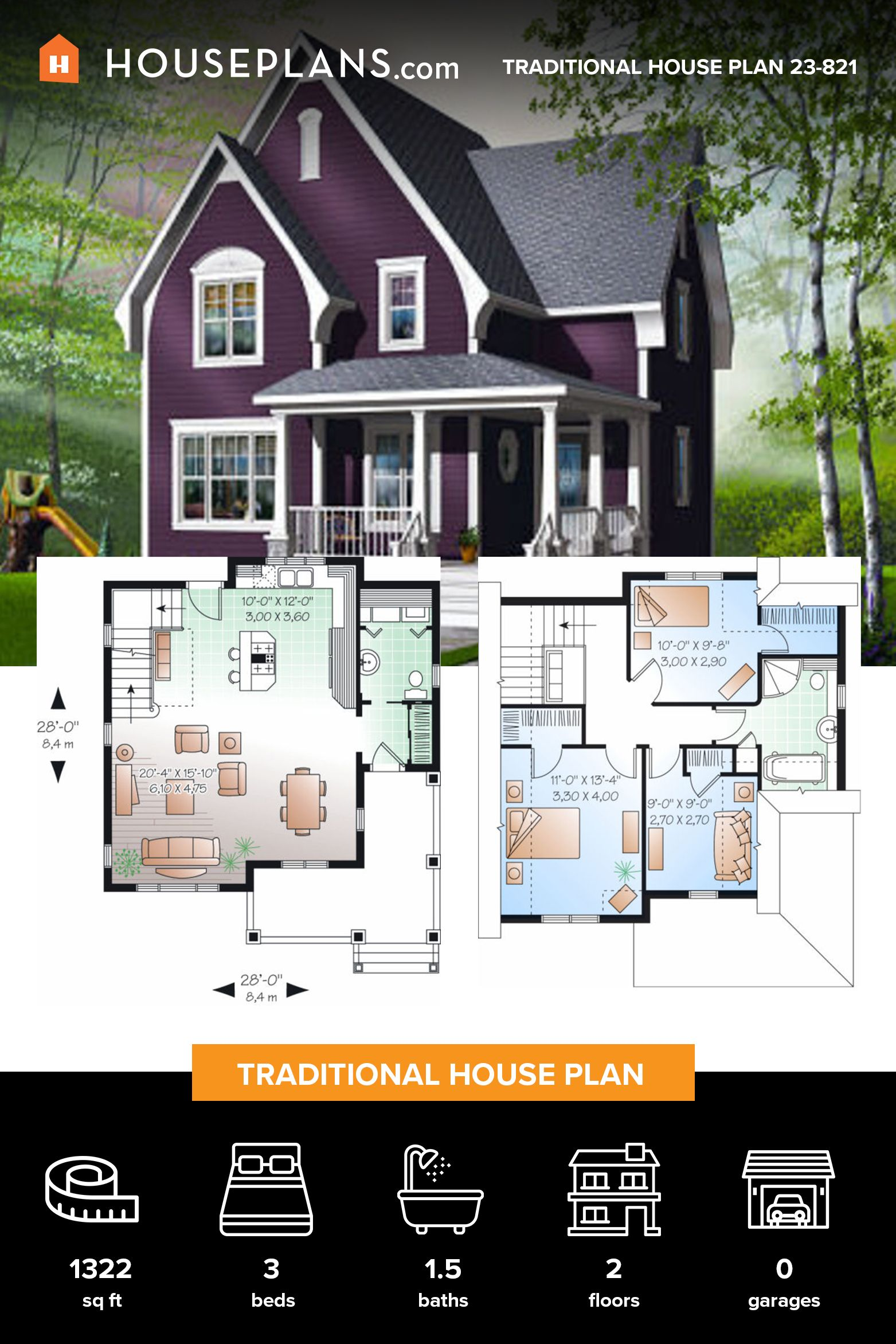 Traditional Style House Plan 3 Beds 1 5 Baths 1322 Sq Ft Plan 23 821 House Plans Small House Design Plans Traditional House Plan