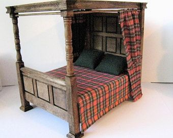 Dollhouse Miniature Bed Tudor Canopy Bed Medieval Bed Double